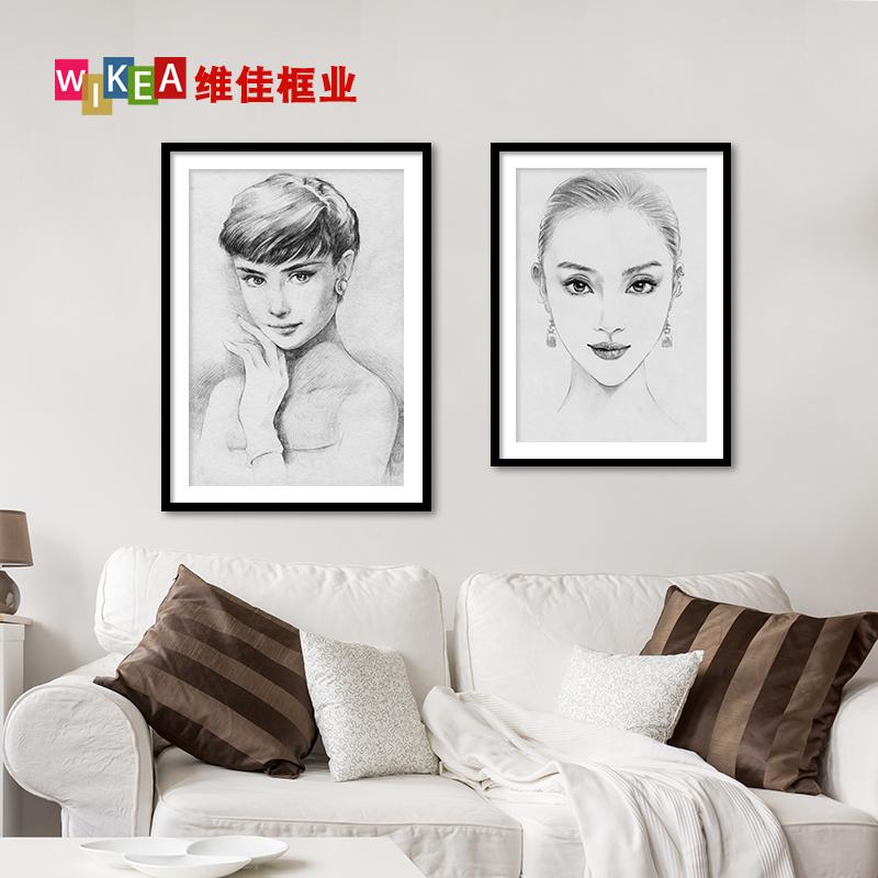 装裱国画素描美术写真大尺寸挂墙相框a4开48KA1A2黑色画框外框