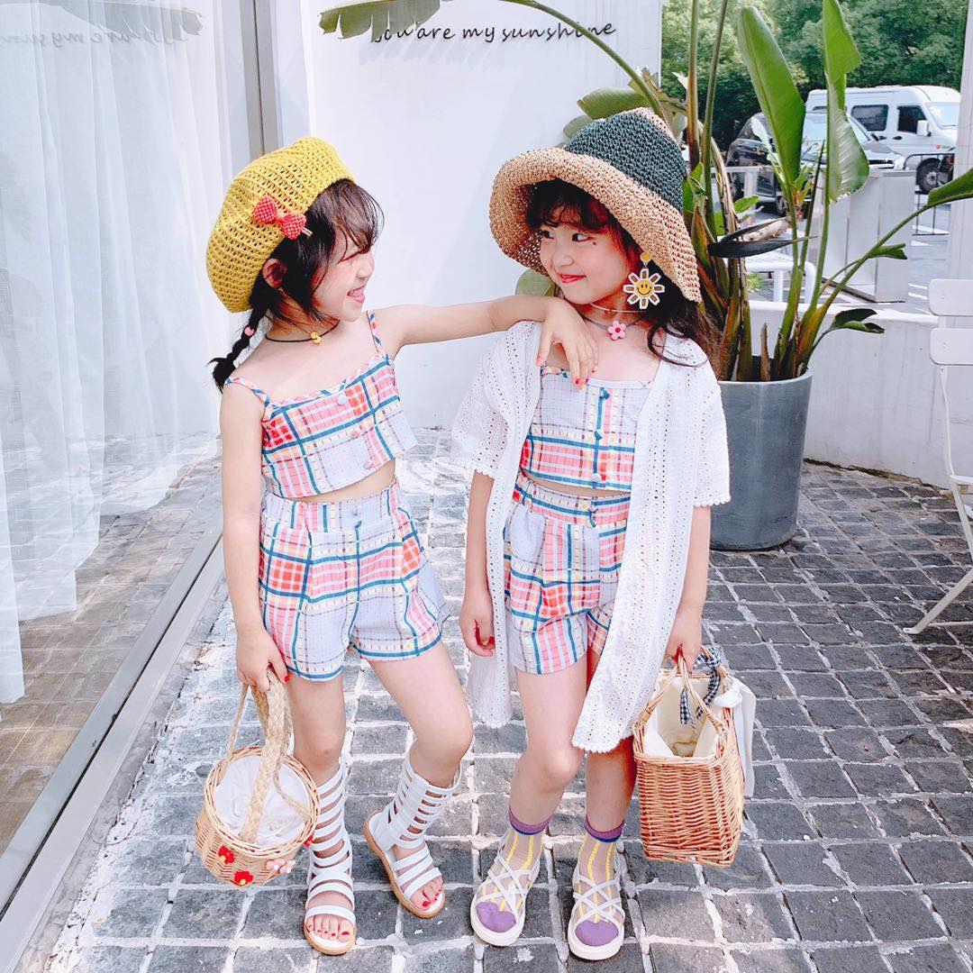 7bao夏款儿童套装女童韩版甜美中大童彩色格子吊带T短裤两件套潮热销1件有赠品