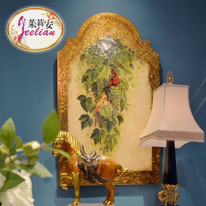 茱莉安奢华美式手绘葡萄藤鹦鹉组画对画别墅玄关装饰画