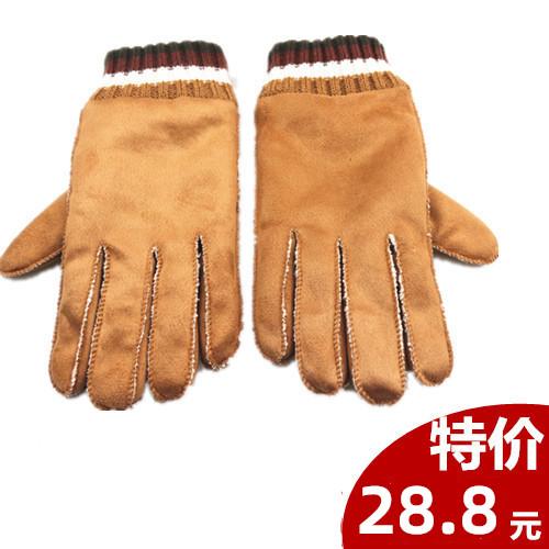 冬季加厚休闲男女士仿皮毛一体麂皮绒手套舒棉绒保暖分指骑行手套