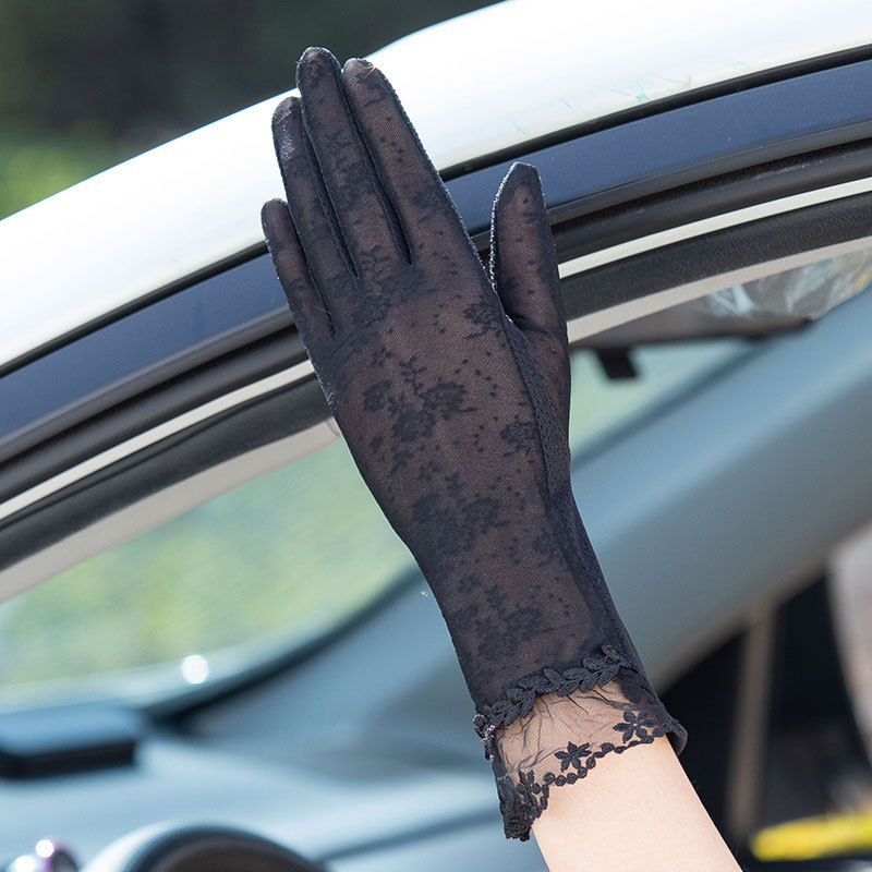 UV resistant gloves, womens touch screen, thin driving, lace, breathable, antiskid, short temperament, hand socks, sun protection device