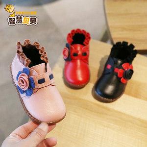儿童棉鞋2019秋冬季新款韩版花朵女童皮鞋豆豆鞋软底加绒鞋宝宝鞋