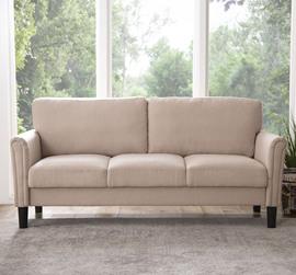 意式新款北欧简约现代客厅小户型双人三人极简蓝色免洗布艺沙发图片