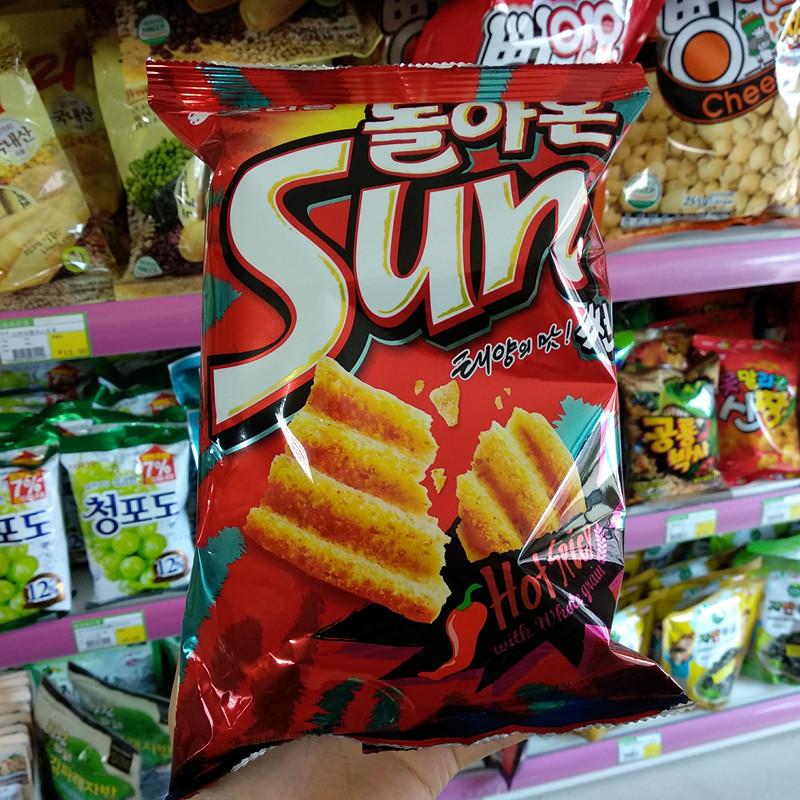 【拍6袋包邮】GS韩国便利店零食SUN 好丽友辣味薯片80G 膨化锅巴