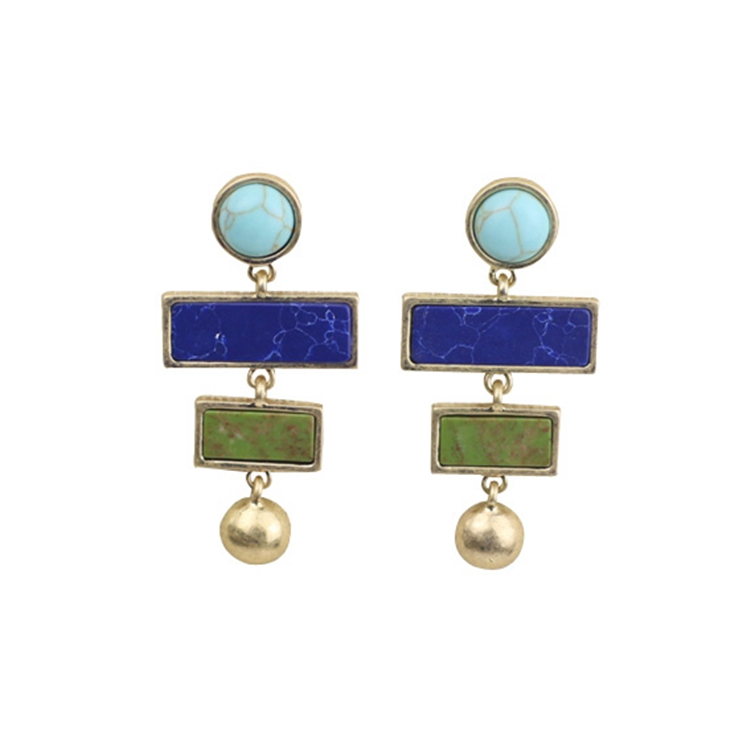 Greenfield European and American style fashion jewelry geometric figure synthetic stone personalized earrings earrings and studs womens exquisite accessories