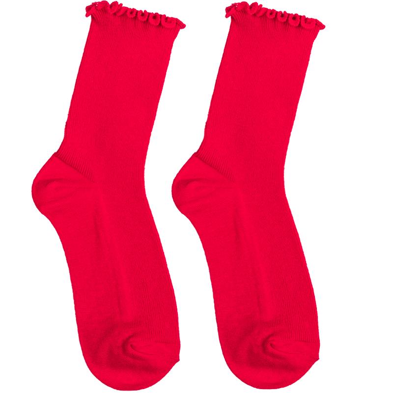 韩国东大门代购学生中筒ins潮花边女袜甜美堆堆袜纯色秋季美腿袜