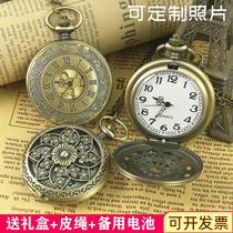 古风怀表复古翻盖吊坠可放照片男款学生女孩小型项链机械定制手表
