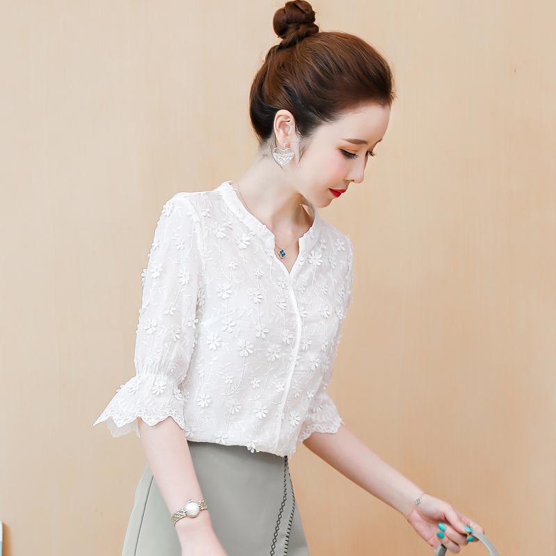 6568#实拍2021年夏装新款绣花白色纯棉衬衣喇叭袖仙气少女上衣