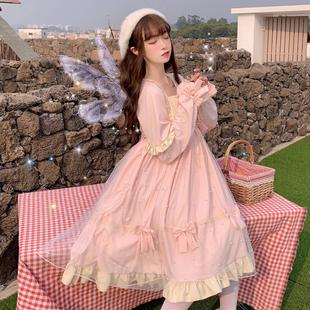 蘿莉軟妹萌日系可愛洛麗塔日常仙女裙子網紗lolita長袖公主連衣裙
