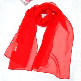 春夏大红色丝巾女乔其纱围巾中国红纯色防晒披肩秋舞蹈纱巾薄长款