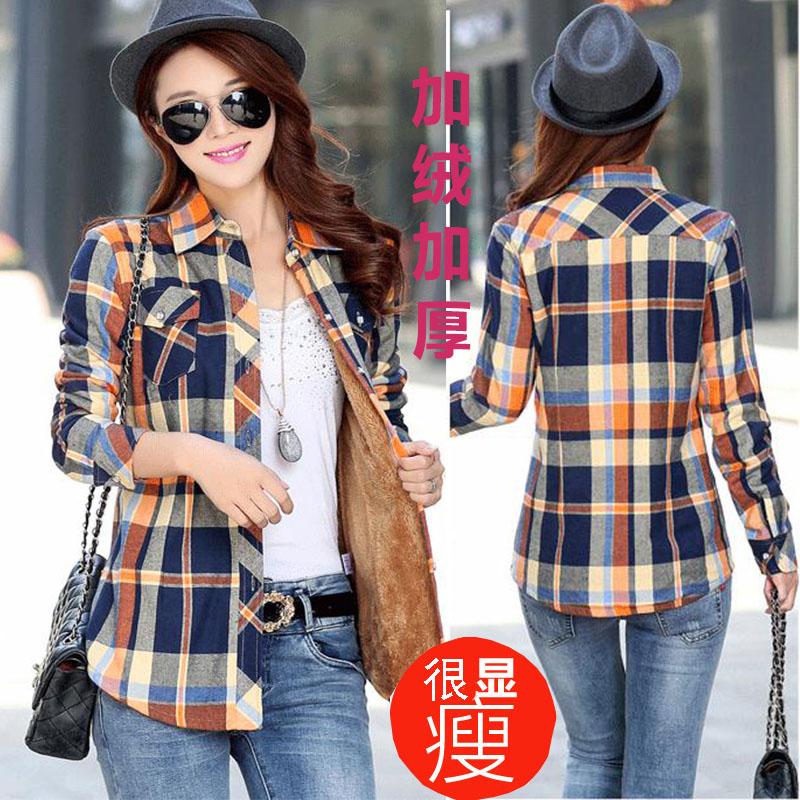 Autumn / winter 2020 new warm womens cotton plaid shirt womens Plush thick Plaid slim long sleeve shirt for women