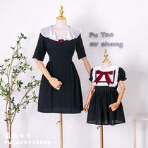 葡萄女生原创亲子装母女时装2021新款夏季连衣裙蝴蝶结显瘦有大码