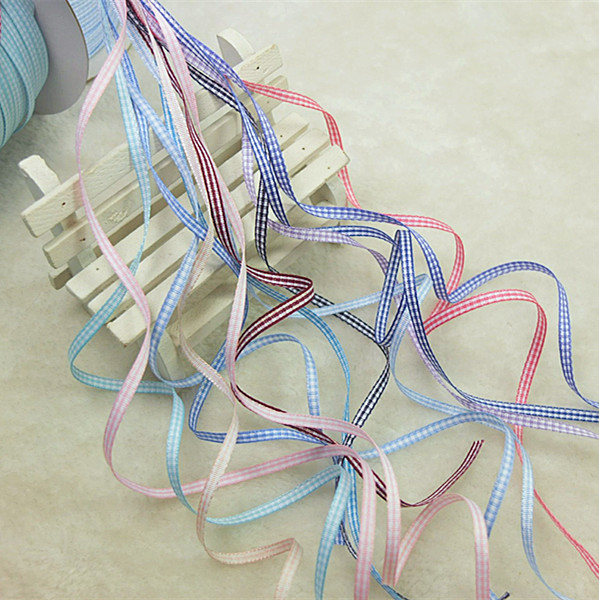 3 mm wide various kinds of super fine Plaid silk satin ribbon with hand woven flower DIY accessories (size 5)