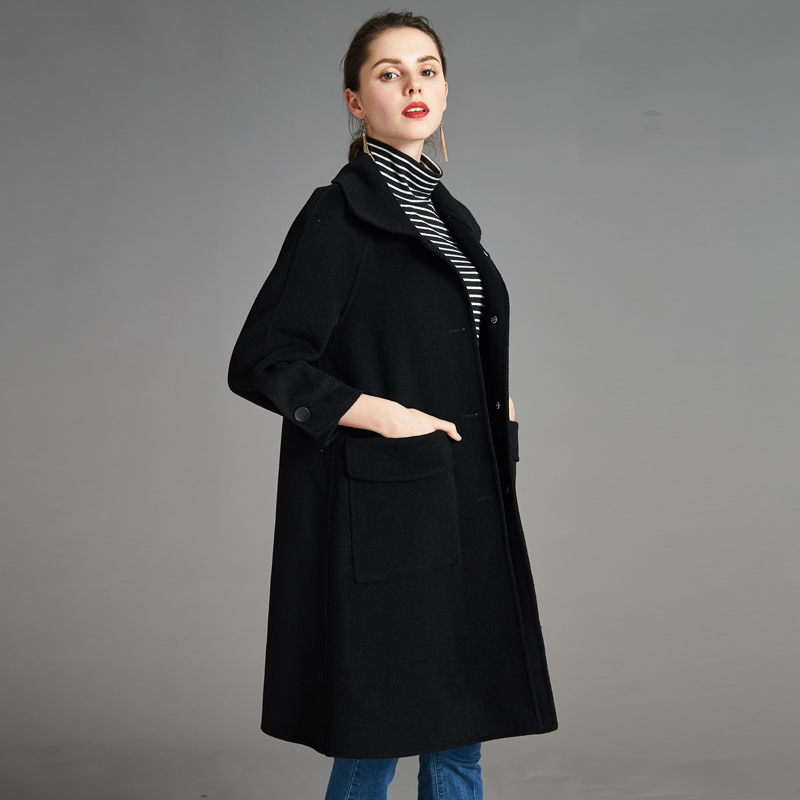 Anti season double sided cashmere coat womens Qingcang authentic A-line medium length Korean loose large woolen coat