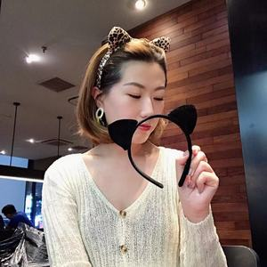 韩国东大门同款豹纹金丝绒猫耳朵卡通发箍ins网红少女可爱发卡