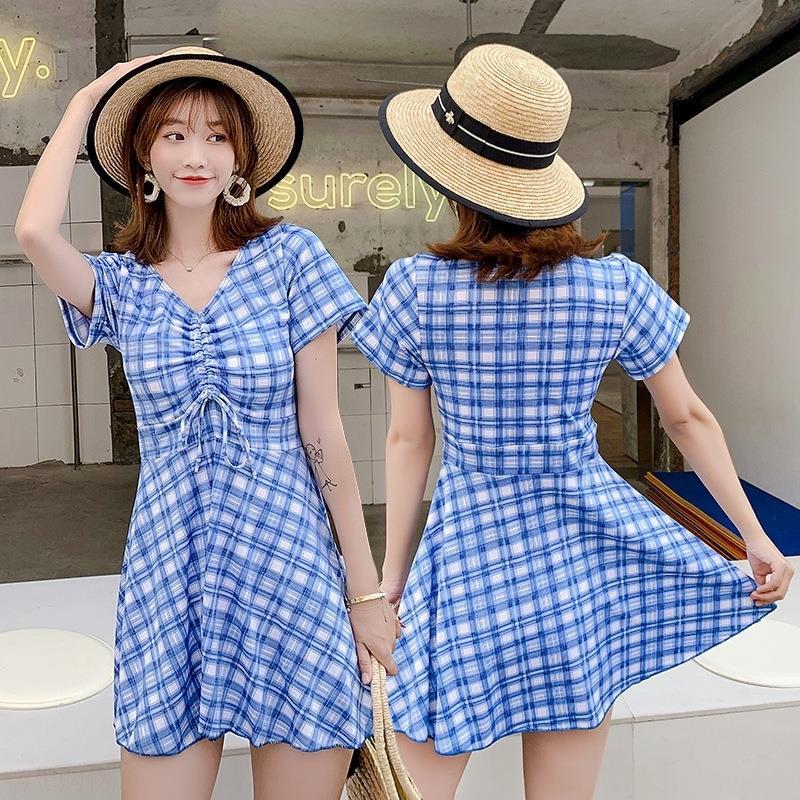 新款泳衣女分体裙式两件套独立泳裤泡温泉显瘦泳装028065