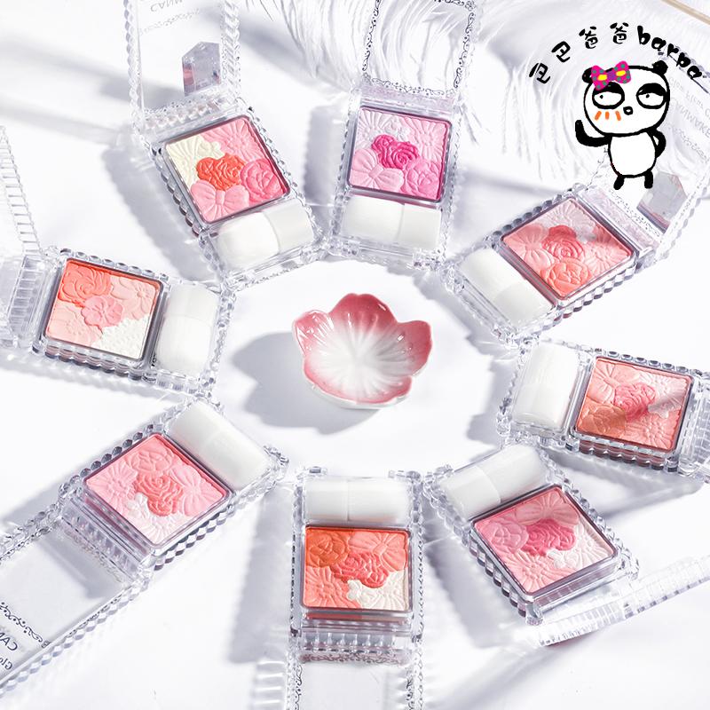 包邮Barpa日本canmake井田五色花瓣雕刻腮红高光珠光哑光胭脂带刷