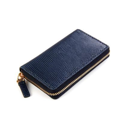 聚变手工皮具深蓝色蜥蜴皮单拉链钥匙包真皮纯铜钥匙排钥匙包定制