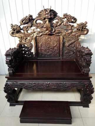 老红木古旧家具 雕龙大屏风 宝座 会所大厅精品