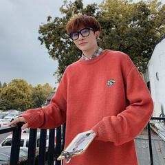 电商A047-M01-P55 纯色低领毛衫卡通刺绣套头毛衣男针织衫潮大码
