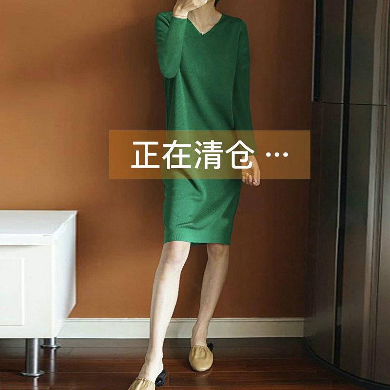 韩版春夏新款V领针织连衣裙女中长款毛衣裙套头长袖宽松薄打底衫