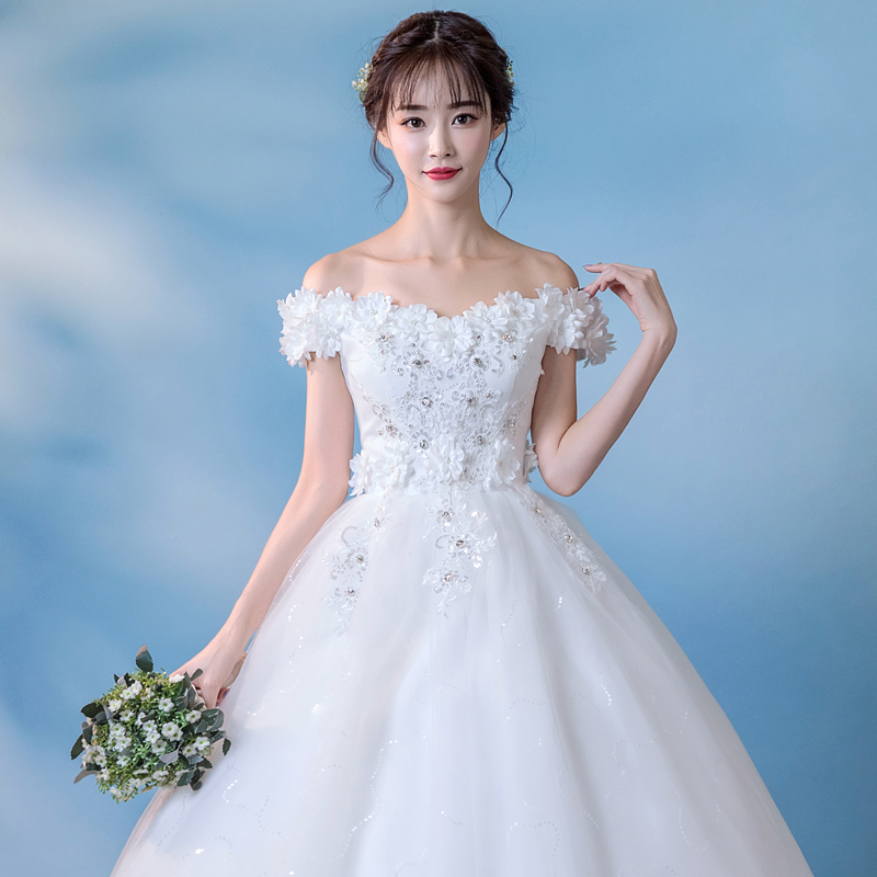 2018 new word shoulder trailing wedding dress bride Qi high waist ...