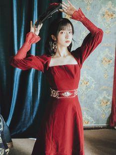 现货新款女装2020新品法式宫廷复古红色丝绒连衣裙女刺绣仙女礼服