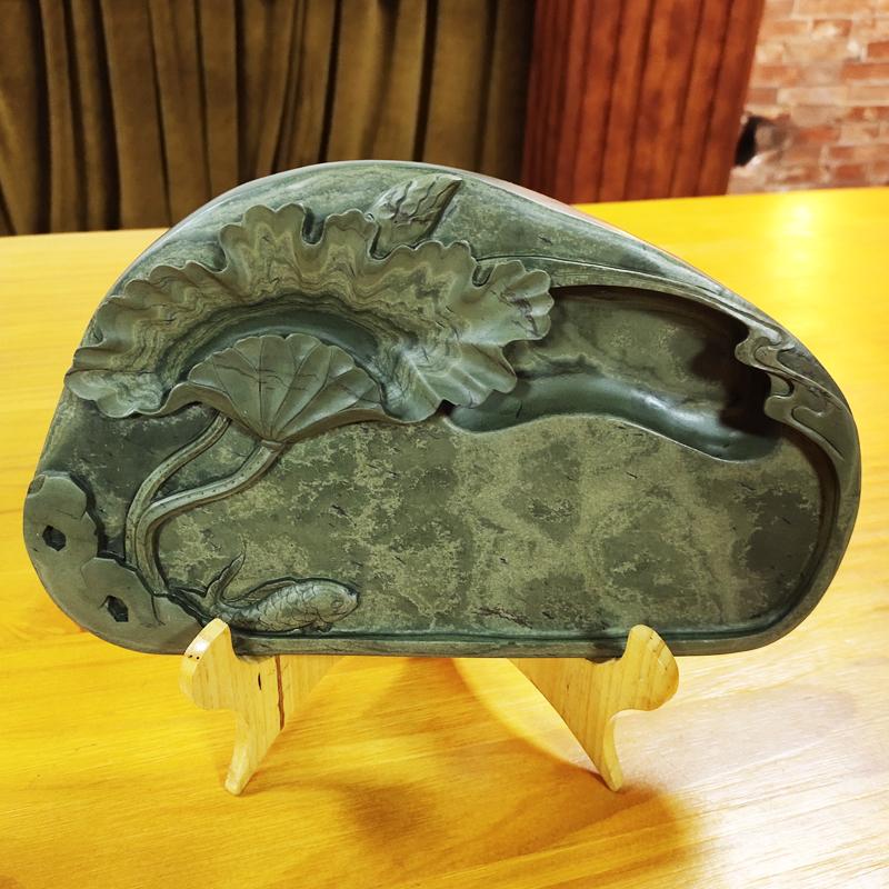 石头砚台天然原石手工绿端砚荷塘高档文房收藏练毛笔书法绘画用品