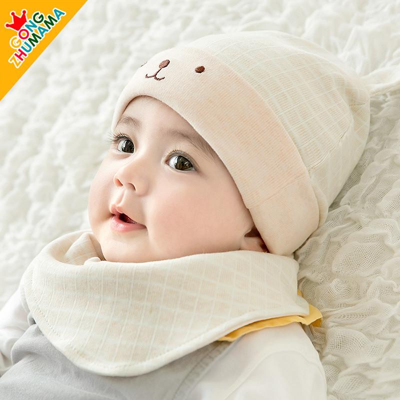 婴儿帽子0-3个月春秋新生儿胎帽纯棉宝宝帽6初生婴幼儿帽可爱超萌