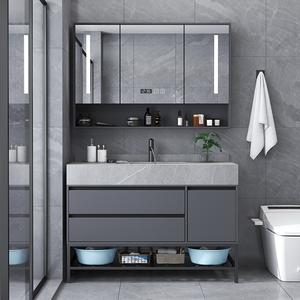 岩板一体组合轻奢落地式洗脸浴室柜