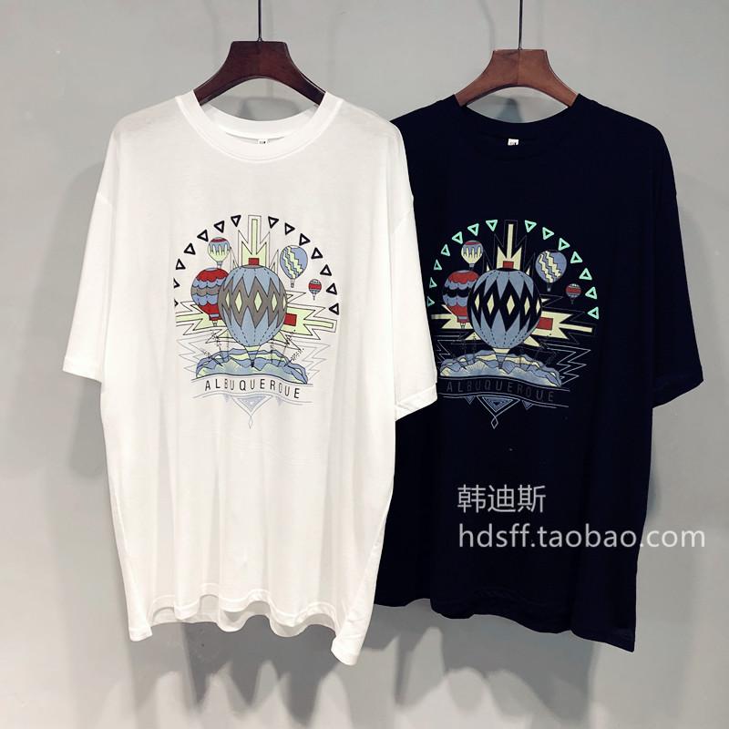 2020夏装 韩国ulzzang新款热气球图案宽松韩范中长款薄款T恤女潮图片