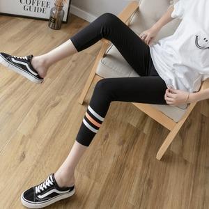 运动八分裤小个子弹力紧身小脚裤纯棉显瘦夏薄款七分打底裤女外穿