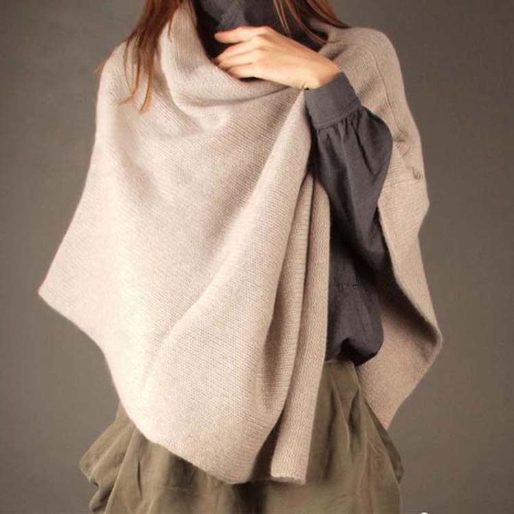 Loose cashmere Pullover shawl cloak female square European and American same spring and winter wool knitted shawl dual-purpose coat