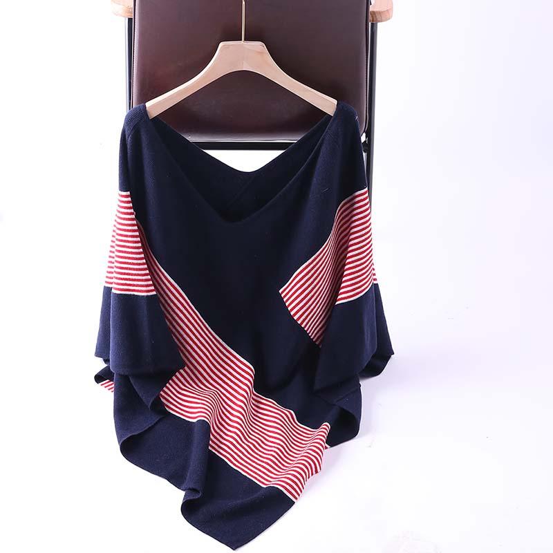 Womens irregular wool sweater shawl V