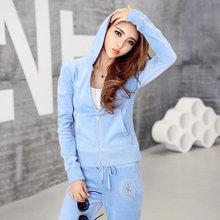 Velvet sportswear women's 2020 spring and autumn clothing new early autumn fashion casual wear gold velvet two-piece suit