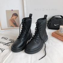 秋冬季新款拉链真皮加绒黑色中筒靴粗跟2020达芙妮马丁靴女英伦风