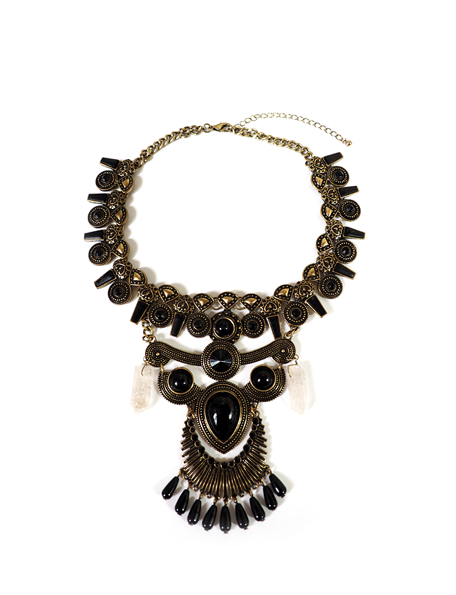Retro Old Indian style crystal personality Necklace tribal style metropolis fashion vane