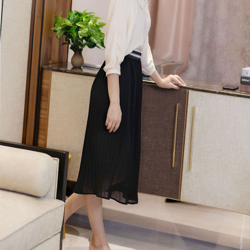 Chiffon black pleated skirt, double layer impervious to the new trend, sagging temperament, high waist, thin and fresh, a-word medium length