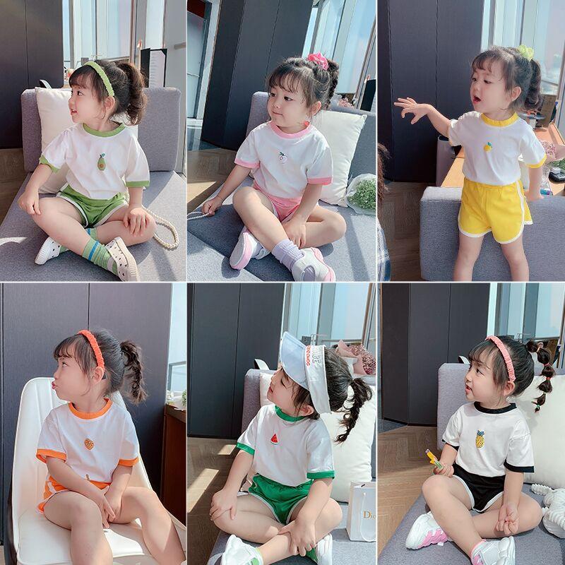 女童夏装洋气2020年新款儿童纯棉短袖短裤运动套装夏季网红套装潮图片