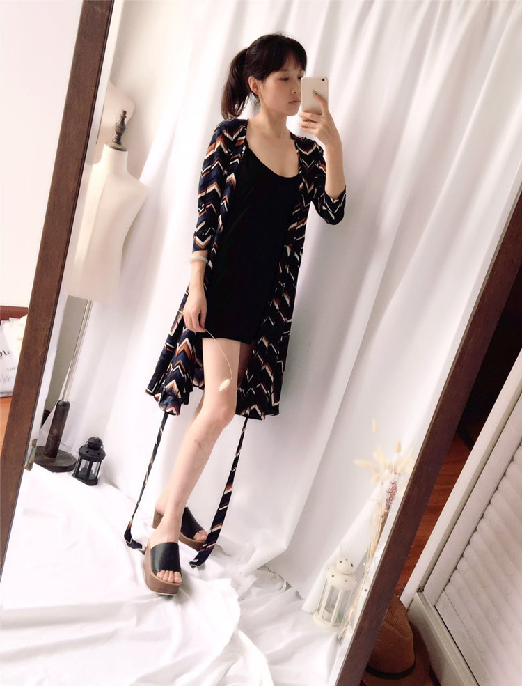 2017 new product imported chiffon fabric retro literature style two wear knee strap dress
