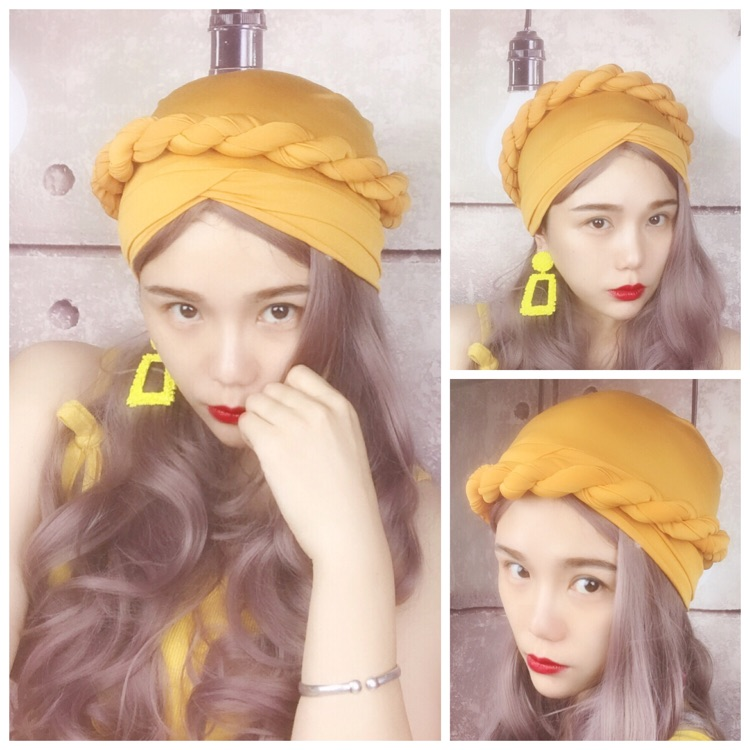 Personality European and American retro wind bag hair with ginger national hemp elastic hair cap Headband
