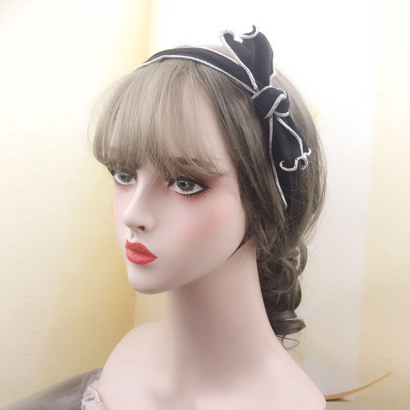 日本vivi杂志款 玲奈同款黑色针织蝴蝶结弹力发带 少女浪漫发束