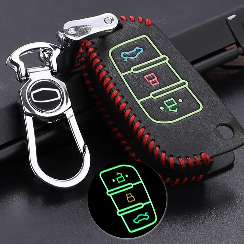 於 吉利新金剛遠景汽車鑰匙包遙控真皮手縫鑰匙套扣 改裝裝飾