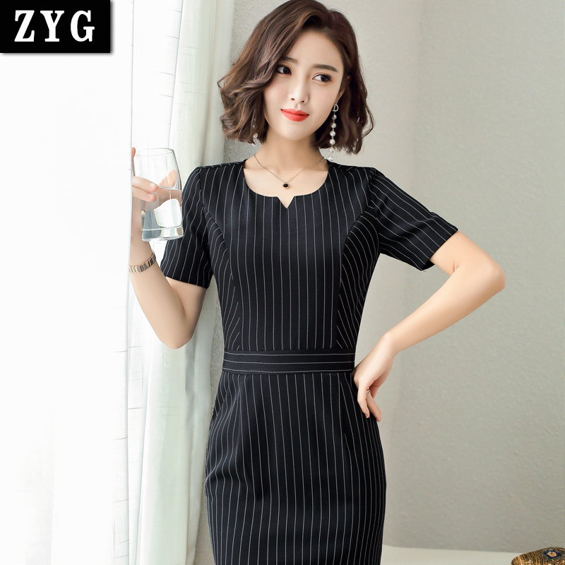 Fashion short sleeve dress show thin professional stripe dress real estate consultant shopping guide sales staff dress summer