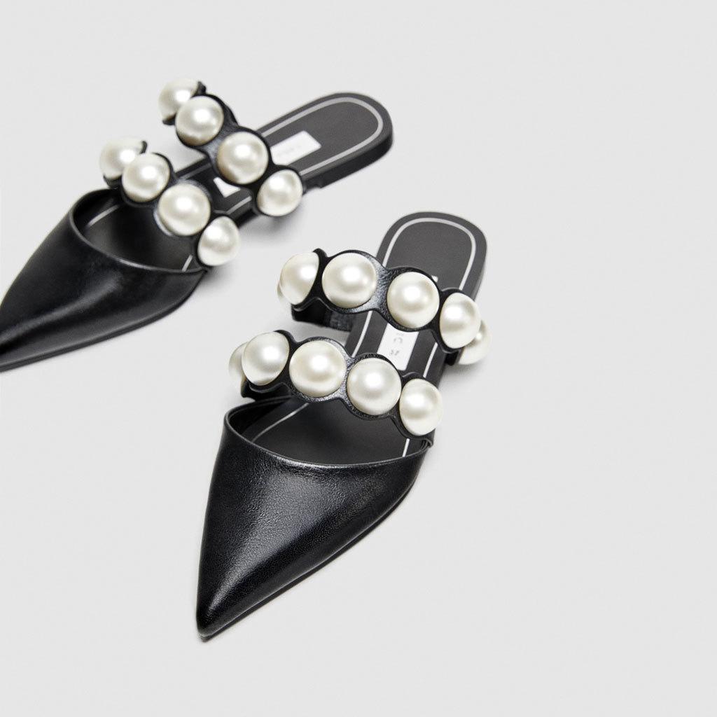 ZARA DTM 新品包头穆勒珍珠尖头平底外穿懒人半拖玛丽珍单鞋女