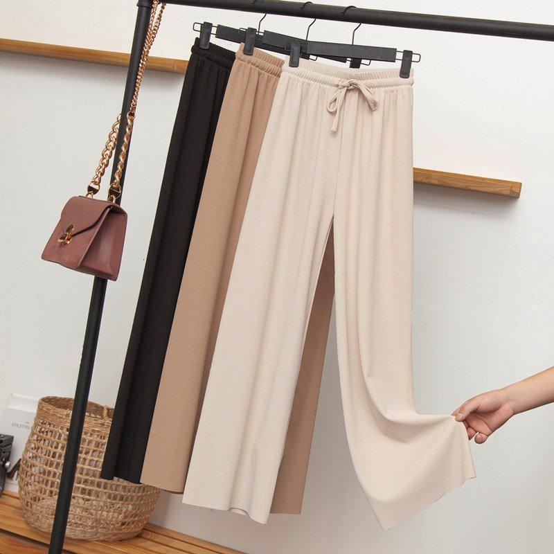 阔腿裤高腰垂感女冰丝夏季超薄灰色八分矮个子网红秋装春秋铜氨丝