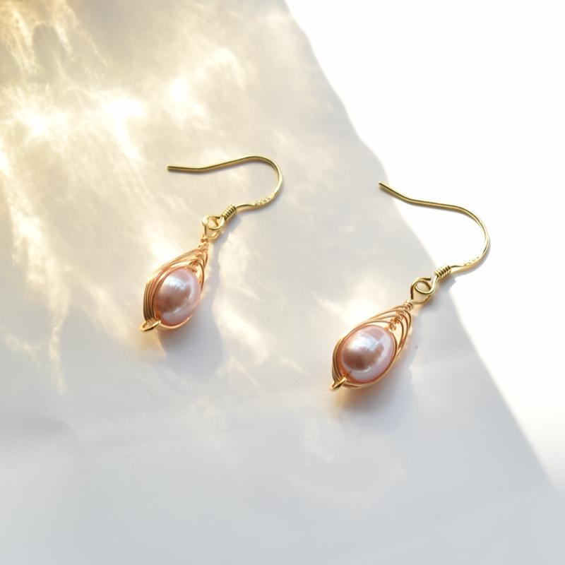 925 Sterling Silver Earrings Handmade copper wire gold Baroque freshwater pearl earrings retro Earrings temperament classic style