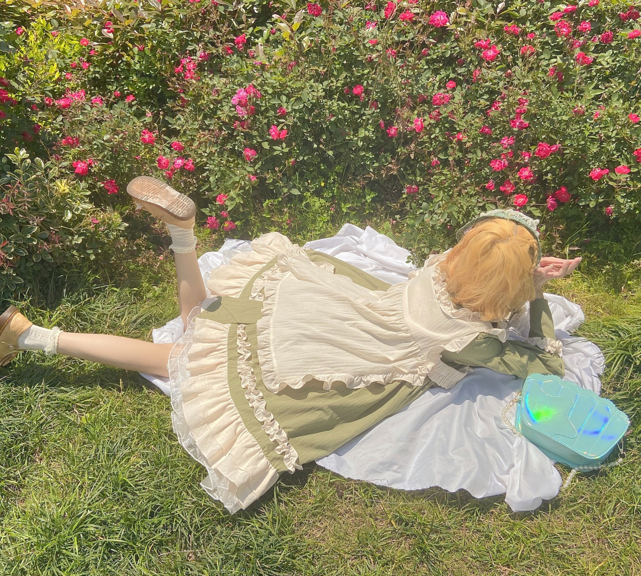 [in stock] + a generation color skirt + front and back two-way double-sided Lolita with lace quibbler