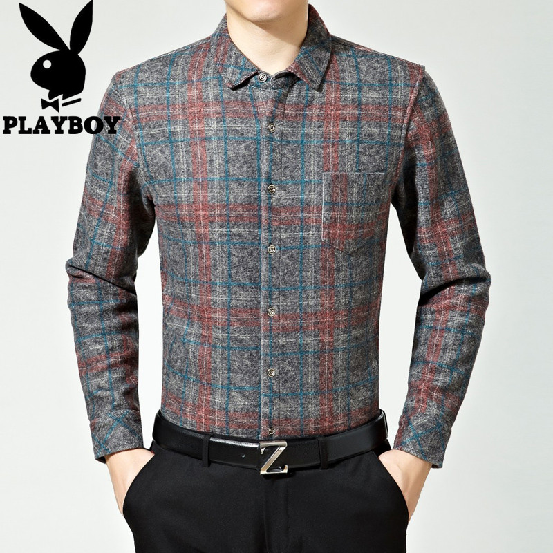 Middle aged and elderly mens cashmere shirt thickened cashmere shirt warm woolen Plaid Wool inch coat fathers coat