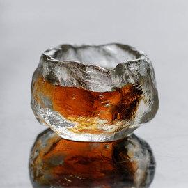日本古法琉璃 冰冻烧琉璃杯 茶杯品茗杯功夫茶具主人杯带原装木盒